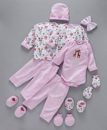 Montaly Clothing Gift Set Animal Print Pink - 14 Pieces