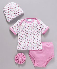 Montaly Baby Clothing Gift Set Floral Print Pink - 4 Pieces