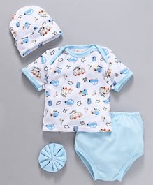 Montaly Baby Clothing Gift Set Car Print Set of 4 - Blue