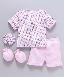 Montaly Clothing Gift Set Flower Print Pink - 4 Pieces