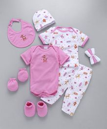 Montaly Clothing Gift Set Animal Print Pink - 10 Pieces