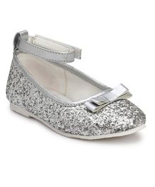 Tuskey Bow Applique Glitter Bellies - Silver