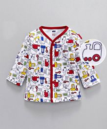 Simply Full Sleeves Cotton Vest Allover Vehicle Print - White & Red
