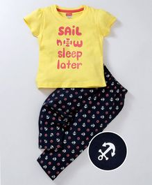 Babyhug Short Sleeves Cotton Night Suit Anchor Print - Yellow