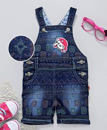 Chicklets Printed Short Length Dungaree - Blue