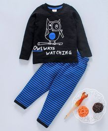 Scampy Owl Printed Full Sleeves Night Suit - Black & Blue