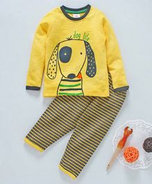 Scampy Dog Printed Full Sleeves Night Suit - Yellow