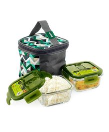 Home Puff Borosilicate Glass Lunch Box With Carry Bag Green - 320 ml