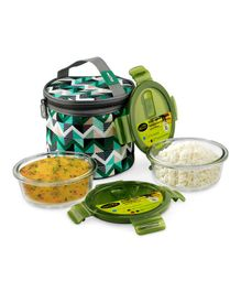 Home Puff Borosilicate Glass Lunch Box With Carry Bag Set of 2 Green - 400 ml