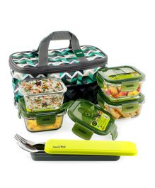 Home Puff Borosilicate Glass Lunch Box With Carry Bag Set of 4 Green - 320 ml
