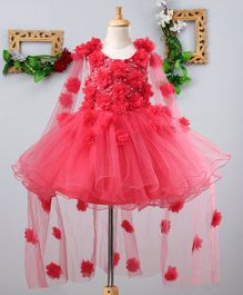 Mark & Mia Flowers & Pearls Embellished Sleeveless Cape Dress - Hot Pink