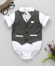Happiness Solid Full Sleeves Onesie With Bow - White & Grey