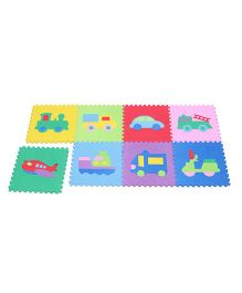 Unimats Floor Puzzle Play Mats Transportation Print Multicolour - 8 Pieces