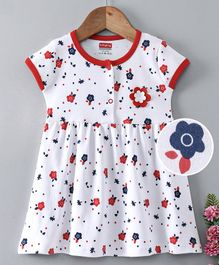 Babyhug Short Sleeves Cotton Frock Floral Print - White