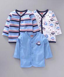 2c043cbefc Babyhug Full Sleeves Jhablas Stripes   Bear Print Pack of 3 - Blue White