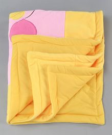Baby Blanket Teddy Embroidered Patch - Pink Yellow