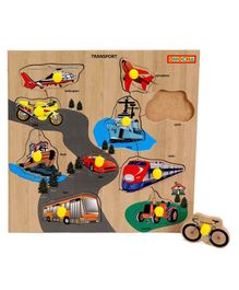 Playmate Wooden Transport Puzzle With Pegs - Multicolour