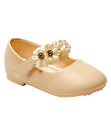 Little Soles Ballerinas With Flower Applique - Beige