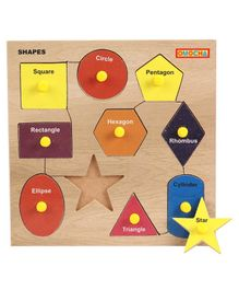 Omocha Wooden Shapes Puzzle With Pegs - Multicolour