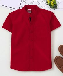 Babyhug Half Sleeves Mandarin Collar Shirt - Red