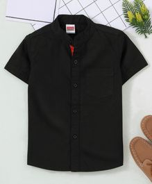 Babyhug Half Sleeves Mandarin Collar Shirt - Black