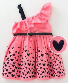 b4f223195 Babyoye Ruffled Neck Sleeveless Frock With Belt Heart Print - Pink Black