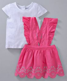 Babyoye Short Sleeves Glitter Cotton-Rayon Top & Embroidered Jumper Skirt - Pink White