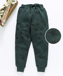 Stupid Cupid Star Print Full Length Track Pants - Green
