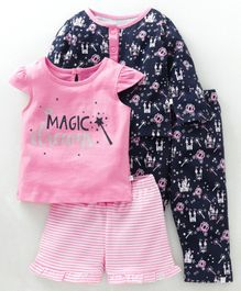 Babyoye Allover Printed Cotton Night Suits Combo Set of 2 - Pink Navy Blue