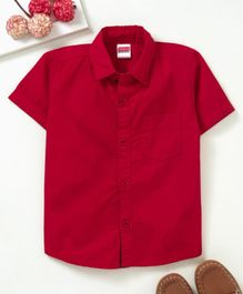 Babyhug Half Sleeves Solid Poplin Shirt - Red