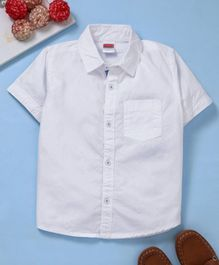 Babyhug Half Sleeves Solid Poplin Shirt - White