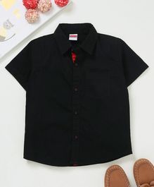 Babyhug Half Sleeves Solid Poplin Shirt - Black