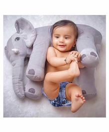 Babymoon Soft Stuffed Elephant Shaped Pillow Cover Toy Grey - Height 20 cm
