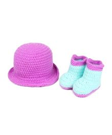 Babymoon Cowboy Hat With Booties - Purple