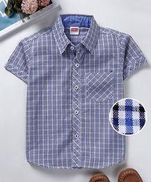 569b9d7c542 Babyhug Half Sleeves Checked Shirt With Chest Pocket - Blue