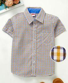 0abb4742c90 Babyhug Half Sleeves Checked Shirt With Chest Pocket - Yellow