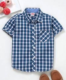 Babyhug Half Sleeves Checks Shirt - Blue