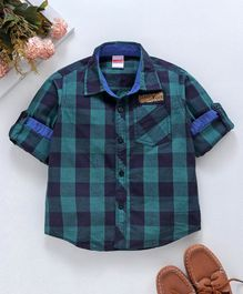4abe0ce80 Babyhug Full Sleeves Check Shirt Legendary League Patch - Navy Blue Green