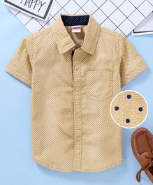 Babyhug Half Sleeves Shirt With One Pocket - Beige
