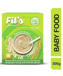 Fil's Organic Baby Cereal With Milk Oatmeal & Rice - 300 gm