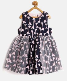 Kids On Board All Over Animal Print Dress - Navy Blue