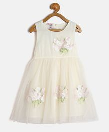 Kids On Board Flower Applique Dress - Cream