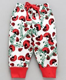 Doreme Full Length Lounge Pant Floral Print - Red White
