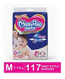 MamyPoko Extra Absorb Pant Style Diaper Monthly Jumbo Pack Medium Size - 117 Pieces