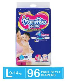 MamyPoko Extra Absorb Pant Style Diaper Monthly Jumbo Pack Large Size - 96 Pieces