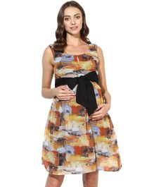 Wobbly Walk Abstract Design Sleeveless Maternity Dress - Brown & Blue