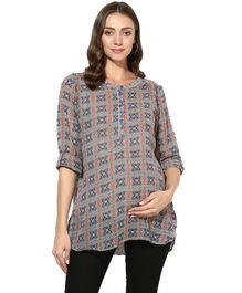 Wobbly Walk Multi Printed Maternity Top - Blue & Orange