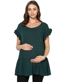 Wobbly Walk Solid Maternity Short Sleeves Top - Green