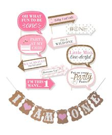 Party Propz I Am One Banner And Girls First Birthday Photobooth Props - Pack of 11