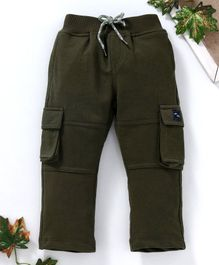 Marshmallows Full Length Cargo Track Pants - Olive Green